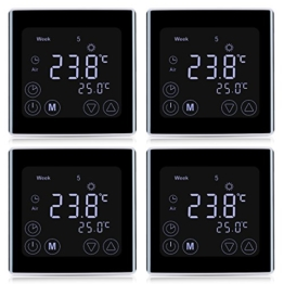 4x Floureon Raumthermostat BYC17.GH3 Thermostat LCD Touchscreen Mit weißer Hintergrundbeleuchtung Wandthermostat Digital Smart Programmierbares Heizkörper-Thermostat Fußbodenheizung Wasserheizung - 1