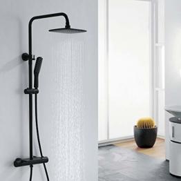 AiHom Duschsystem mit Thermostat, Duschset Schwarz Regenduschset Eckig mit Regal Regendusche, Messing Duscharmatur Set, verstellbarer Duschstange, Duschsäule inkl. Handbrause und Kopfbrause für Bad - 1