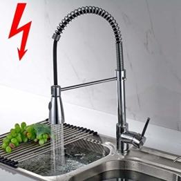 Aimadi Niederdruck Küchenarmatur Wasserhahn Mischbatterie 360° drehbar Küche Armatur Einhebelmischer Spültischarmatur Geschirrbrause Spiralfederarmatur Chrom - 1