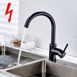 Aimadi Niederdruck Mischbatterie 360° Drehbar Küchenarmatur Armatur Wasserhahn Einhandmischer Spüle Küche Niederdruckarmatur Schwarz - 1