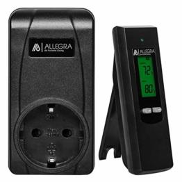 ALLEGRA Thermostat Steckdose mit DE Bedienungsanleitung Funkthermostat für Infrarotheizung Heizlüfter Heizung Klimaanlage Funk Steckdosenthermostat Digitaler Temperaturregler Steckerthermostat (T21) - 1