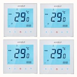 Anself 4 Stück Programmierbar Raumthermostat mit LCD Touch Screen Wasser Heizung Wöchentliche Room Thermostat Controller 3A 110 – 230 V - 1