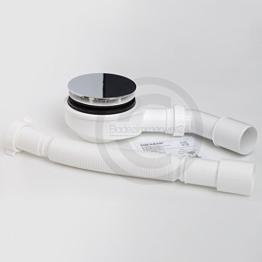Aquabad TRAPFLEX® Ablaufgarnitur Set Extraflach Chrom inkl. Ø90mm Siphon, Ablaufbogen und Flexanschluss -
