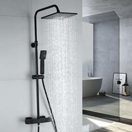 ARCORA Duschsystem mit Thermostat, Duschset Schwarz Regendusche Eckig Duschgarnitur Duschsäule Duscharmatur mit Handbrause, Duschstange aus Edelstahl, Thermostatventil aus Kupfer für Bad - 1