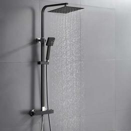Auralum 2 Funktionen Duschsystem mit Thermostat, Schwarz Duschset 25 x 25 cm Regendusche inkl. Kopfbrause, Handbrause, verstellbarer Duschstange, Duscharmatur Dusche Duschgarnitur Duschsäule - 1