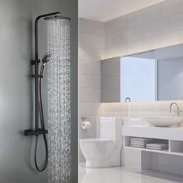 Auralum 2 Funktionen Duschsystem mit Thermostat, Schwarz Duschset Regendusche inkl. Kopfbrause, Handbrause, verstellbarer Duschstange, Dusche Duschpaneel Duschgarnitur Duschsäule Duscharmatur - 1