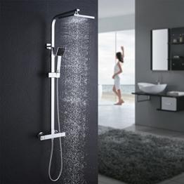 Auralum Duschsystem mit Thermostat Mischer, Duscharmatur Thermostat mit Regendusche und Handbrause, Anti-Verbrühungs-Duschsystem - 1