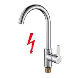 Auralum J Form Niederdruck Küchenarmatur, 360 Grad Drehbar Küche Wasserhahn mit Einhandmischer Mischbatterie für Spüle, Spültischarmatur Chrom, nicht Normaldruck - 1
