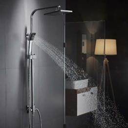Auralum Moderde Design Duschset Duscharmatur Duschsystem mit Regendusche und Duschkopf Handbrause für Badezimmer Kupfer Dusche - 1