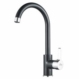 Auralum Niederdruck Wasserhahn Küche Armatur Schwarz Spültischarmatur Spüle Mischbatterie für Kaltwasser und einen Wasserboiler - 1