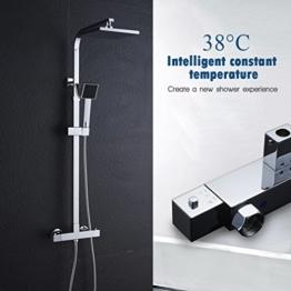 Auralum Quadratisches Design Thermostatische Duschsystem Thermostat-Duscharmatur Duschset geeignet für Badezimmer & Dusche & Balkon & Garten - 1