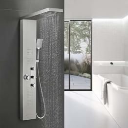 BONADE Duschpaneel Thermostat Duscharmatur aus Edelstahl 304 Funktional Duschsystem Luxus Duschgarnitur mit Regendusche, Wasserfalldusche, Massagendüsen, Handbrause und Wannenauslauf für Badezimmer - 1