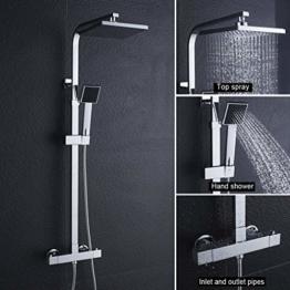 BONADE Duschsystem thermostat regendusche Duschset mit Brausethermostat- mit Regenbrause, Handbrause und Brausearm | Befestigungspunkt ca. 30 cm höhenverstellbar - 1