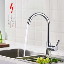 BONADE Niederdruck Armatur Küche Spültischarmatur Schwenkbereich 360° Küchenarmatur Einhebelmischer für drucklose Boiler Küche Spüle Chrom - 1