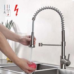 BONADE Niederdruck Küchenarmatur Edelstahl Gebürster Wasserhahn Küche, Schwenkbereich 360° Spiralfederhahn, mit Ausziehbarer Brause, Niederdruckarmatur (mit 3 Anschlüssen) für drucklose Boiler - 1