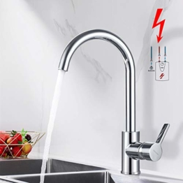 BONADE Niederdruck Küchenarmatur Wasserhahn 360° schwenkbarer Auslauf Niederdruckarmatur Spültischarmatur für offene Boiler Einhebelmischer Küche Spültisch Mischbatterie - 1