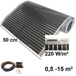 Calorique Infrarot Heizfolie Elektrische Fußbodenheizung 50 cm Set 220 W/m² 2,0 m² - effiziente und kostengünstige Heizung für Neubau oder Altbau-Sanierung - 1