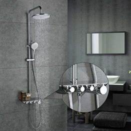 Desfau 3-Funktion Duschsystem mit Regal Regendusche Duschset Duscharmatur Dusche Rainshower inkl. Handbrause Überkopfbrause Brausestange - 1