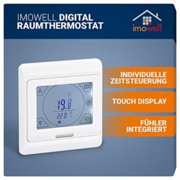 Digital Raumthermostat DRT-TS mit Touchscreen für elektrische Heizungen, Fußbodenheizung, Programmierbares Wandthermostat Unterputz 230V mit Tages/Wochenprogramm von imowell - 1