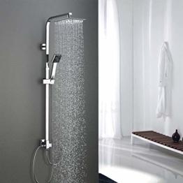 Duschsäule ohne Wasserhahn Regendusche Duscharmatur Duschkopf Duschsystem inkl Handbrause Shower Set, Höhenverstellbar 92-135cm - 1