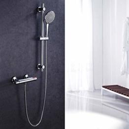 Duschsystem Duscharmatur Duschsäule Brausestangenset Chrom Set mit Thermostat Duscharmatur Duschset - 1