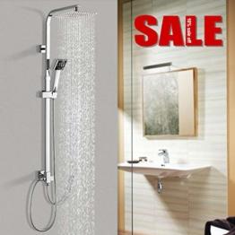 Duschsystem Duscharmatur Edelstahl, WOOHSE Brauseset Duschstange mit Regendusche Überkopfdusche und Handbrause Duschsäule Duschset verchromt, Höhenverstellbar 88,5~123,5 cm - 1