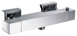 Duschthermostat Duscharmatur Thermostat Brausethermostat Brausemischer Aufputz eckige Armatur Chrom - 1