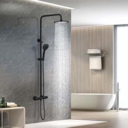 DUTRIX Duschsystem schwarz mit Thermostat, Regendusche Set mit Kopfbrause und Handbrause, Thermostatbatterie Duschset für Badezimmer, Wandmontage Duschsäule Duschset, Verstellbare Duschstange - 1