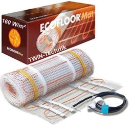 ECOFLOOR® Fußbodenheizung elektrisch 160 Watt/m² Größe wählbar 1- 12m² Fußboden-Heizmatte Twin (1.5 m² = 3m Länge) - 1