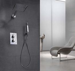 Elbe Unterputz Duschsystem mit Thermostat, aus Edelstahl 304 + Messing, Duschset mit Quadratische Überkopfbrause und Handbrause, Duschsäule mit Regendusche, einfache Installation - 1