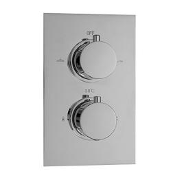 ENKI Unterputz-Duscharmatur mit Thermostat - Rundes Design - 2 Regler - 2 Anschlüsse - 1