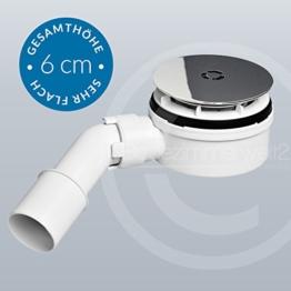 Extraflache 70mm Ablaufgarnitur / Siphon 90mm Chrom-massiv für Duschwannen - Duschtassen -