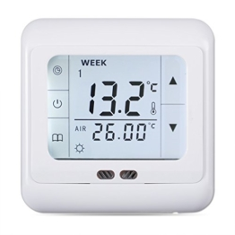 FLOUREON digital Thermostat 3A Raumthermostat programmierbar Raumtemperaturregler für Fussbodenheizung Wasser Heizung Wandheizung Wandthermostat mit LED Touchscreen Weiß - 1