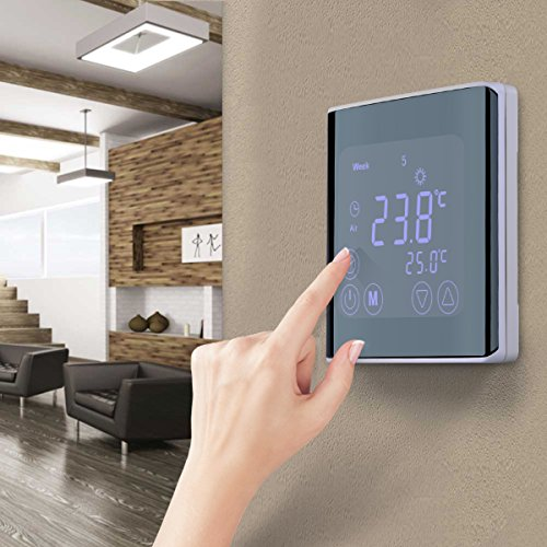 floureon raumthermostat touchscreen thermostat lcd display wandthermostat byc17 gh3 mit wei. Black Bedroom Furniture Sets. Home Design Ideas