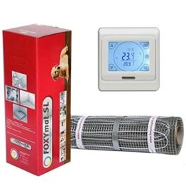 FOXYSHOP24-elektrische Fußbodenheizung PREMIUM MARKE FOXYMAT.SL (160 Watt pro m²) mit Thermostat QM-BLUE-TS ,Komplett-Set 1.0 m² (0.5m x 2m) - 1