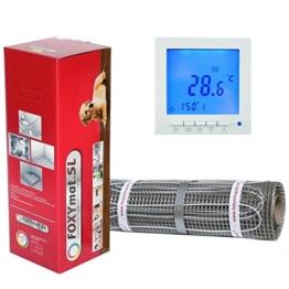 FOXYSHOP24-elektrische Fußbodenheizung PREMIUM MARKE FOXYMAT.SL (160 Watt pro m²) mit Thermostat QM-BLUE,Komplett-Set 1.0 m² (0.5m x 2m) - 1