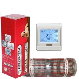FOXYSHOP24-elektrische Fußbodenheizung PREMIUM MARKE FOXYMAT.SL RAPID (200 Watt pro m² ,für die schnelle Erwärmung) mit Thermostat QM-BLUE-TS ,Komplett-Set , 1.0 m² (0.5m x 2m) - 1
