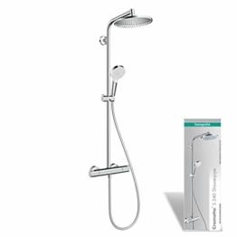 hansgrohe Duschsystem Crometta S 240 (Regendusche mit 2 Strahlarten, Duschkopf, Duschstange und Thermostat) chrom - 1