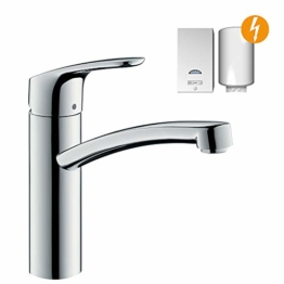 hansgrohe Focus Küchenarmatur (Wasserhahn Küche ohne Schlauchbox, für Niederdruck, 360° schwenkbar, hoher Auslauf 160mm) Chrom - 1