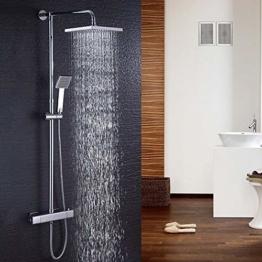 Hausbath Duschbrause-Set Überkopfbrause-Set Regal Duschsystem Sets mit Thermostat Duschset mit Rainshower Duscharmatur Handbrause Duschkopf Regendusche Dusche Armatur Badewanne Badezimmer (Eckig) - 1