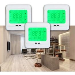 Hengda® 1-4X Digital Raumthermostat Fußbodenheizung Thermostat LCD Touchscreen Programmierbar Bodenfühler Blau Weiß Grün (3, Grün) -