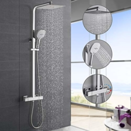 Hochwertiges Duschsystem mit Thermostat, WOOHSE Regendusche Duscharmatur Duschkopf aus Edelstahl, Duschset Handbrause mit 3 Funktionen, Dusche Set Verstellbare Duschstange(82-123 CM) für Badzimmer - 1