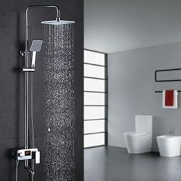 Homelody 3-Funktion Duschsystem mit LCD Wassertemperatur Display, Duschset mit Regendusche Rainshower Duscharmatur f. Duschen -