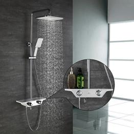 Homelody 3-Funktion Duschsystem mit Thermostat Duscharmatur Duschset mit Rainshower Handbrause Duschkopf Regendusche Dusche Armatur und Duschablage Badewanne Brausethermostat - 1