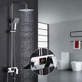 Homelody 3-Wege Duschsystem LCD Temperatur-Anzeige Duscharmatur mit Rainshower Regendusche Handbrause Duschkopf Dusche Armatur und Badewanne Duschset f. Bad - 1