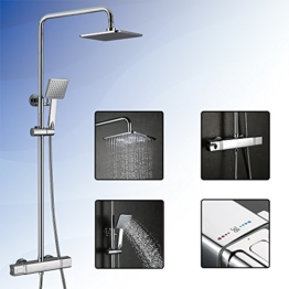 Homelody® Duschsystem mit Thermostat DuscharmaturRegendusche Duschstange Duschset Duschkopf Rainshower Duschpaneel Duschsäule Dusche f.Badzimmer -