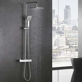 Homelody Duschsystem mit Thermostat Regendusche Duschset Duschsäule Dusche Duscharmatur Brausethermostat Shower inkl. Verstellbar Duschstange Kopfbrause Handbrause - 1
