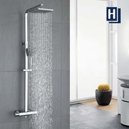 HOMELODY Duschsystem mit Thermostat Regendusche eckig Duscharmatur Duschset Dusche inkl. Handbrause, Regenbrause, Duschstange chrom - 1
