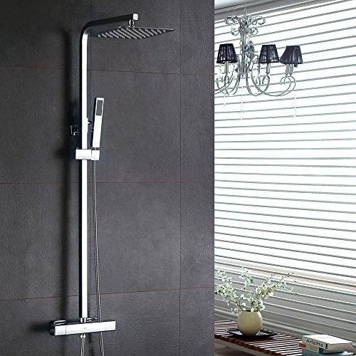 homelody inkl thermostat duschset chrom eckig duschsystem