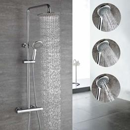HOMELODY Thermostat Duschsystem Duscharmatur Duschset Duschsäule mit Drei-Strahlen Regendusche Handbrause inkl. Überkopfbrause Duschstange - 1